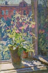 Яблонська Олена Нилівна Тютюнець на вікні картон, олія