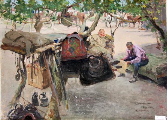 И. Дряпаченко, Привал казаков в фруктовом саду в Трапезунде, этюд, 1917