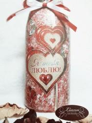 Декупаж шампанского на день Святого Валентина