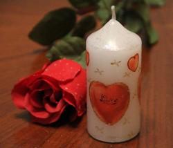 Декупаж свечи ко дню Святого Валентина